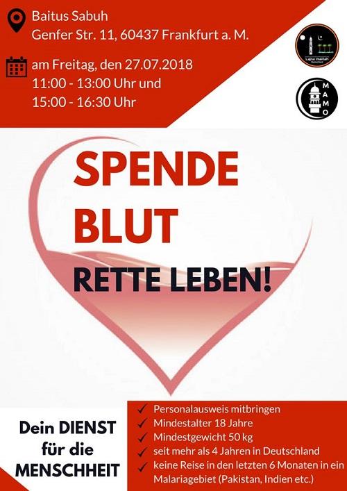 Blutspendeaktion am 27. Juli in Frankfurt